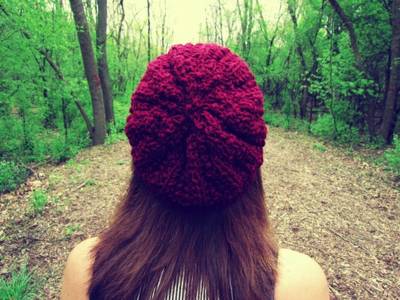 Knitted Slouchy Hat Bright Red Burgundy Womens Spring Summer Beanie - Made to Order