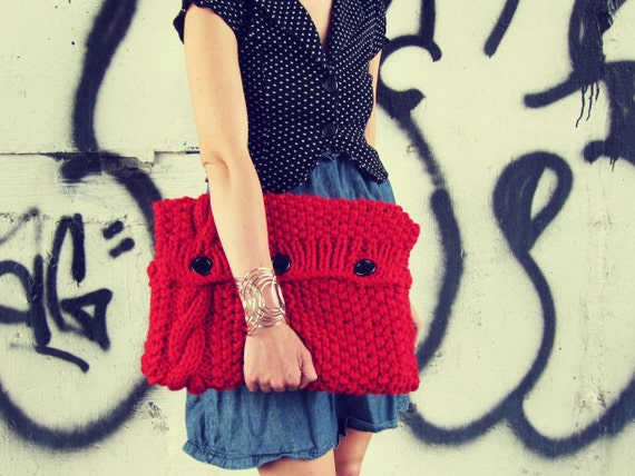 Knitted Laptop Sleeve Computer Cozy Electronic Case Red Cable Knit With Buttons Gadget Accessories