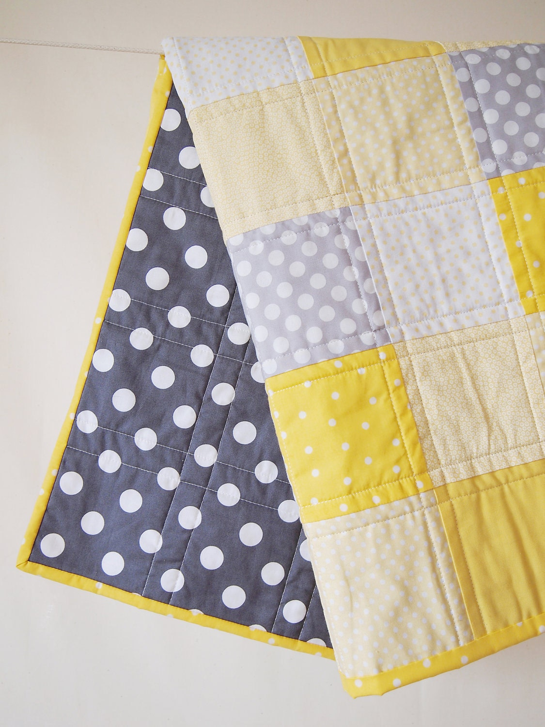 Baby Quilt Bright Yellow And Gray Baby Quilt With Tiny