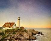 Portland Lighthouse Photo, Maine, Cape Elizabeth, nautical decor, sunset scenery, ocean coast, orange and blue sky