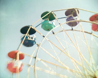 Ferris wheel nursery decor carnival photo whimsical dreamy fair ride light blue aqua turquoise pastel for boys for girls