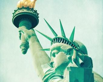 Statue of Liberty art print, New York City landmark, NYC photo, neoclassical blue teal aqua green decor, travel photography