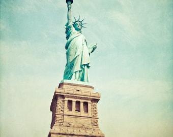Statue of Liberty photo, New York City landmark, neoclassical NYC photo, blue teal green aqua aquamarine fine art
