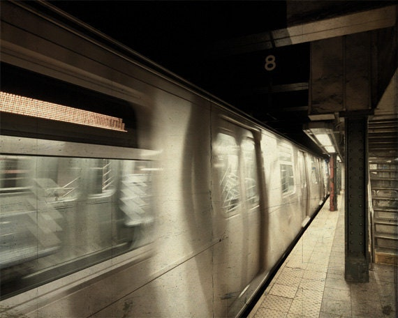 New York subway train, NYC subway station photo print, movement motion blur, shabby chic brown gray beige decor for men