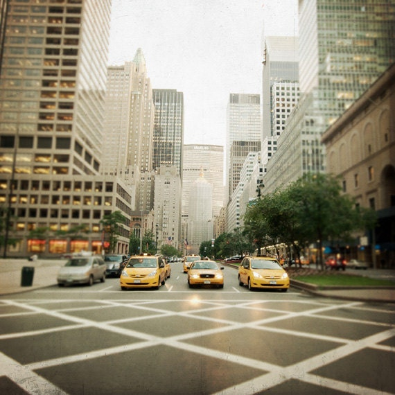 Yellow Cabs in New York City photograph, art print, urban landscape, street photography, Park Avenue