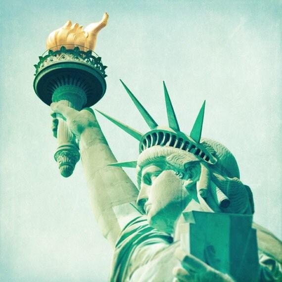 Statue of Liberty photo, New York City landmark, NYC photo, neoclassical blue teal aqua green decor, travel photography