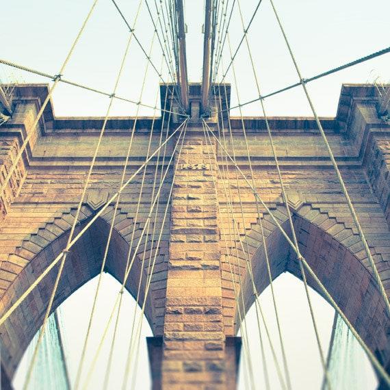 Brooklyn Bridge photo, New York City photography NYC landmark, neo-gothic architecture cables, retro colors, beige aqua decor