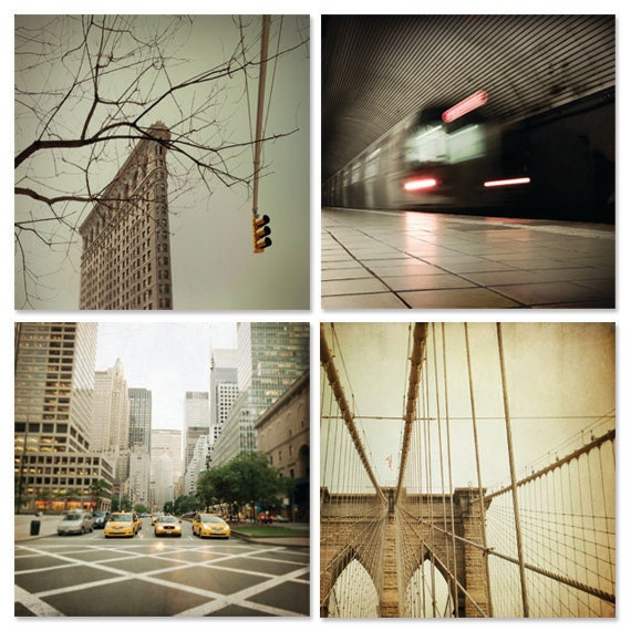 Discounted NYC photo set, instant collection of New York City photographs. Brooklyn Bridge, Flatiron Building, NYC subway, yellow cabs.