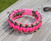 Multi Camo and Dark Pink Paracord Bracelet