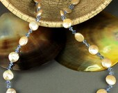 Freshwater Coin Pearl and Sapphire Crystal Necklace Earring Set