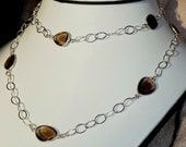 Stunning 31 Inch Smoky Quartz and Sterling Silver Chain