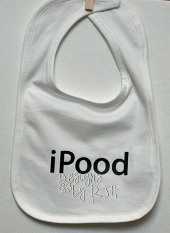 Funny Baby Bib - iPood - Customize Your Colors - Cotton Bib - Baby Shower Gift - ipod for baby