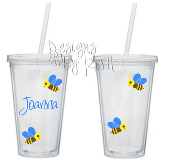 Personalized Cute Busy Bees - 16 oz Acrylic Tumbler - Travel Cup