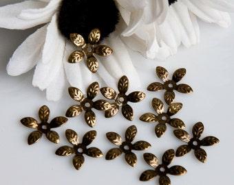 STORE CLOSING! CLEARANCE MscAB911 - Antique Bronze Flower Bead Caps - 50 Pieces