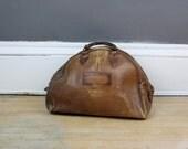 primitive bag / vintage bowling bag / brown leather bag