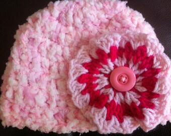 3-6 months fluffy flower hat