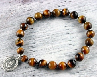 Mother Mary Charm Bracelet, Tiger Eye Bracelet, Virgin of Guadalupe, Madonna Sterling Silver Charm Bracelet, Gemstone Beaded Bracelet