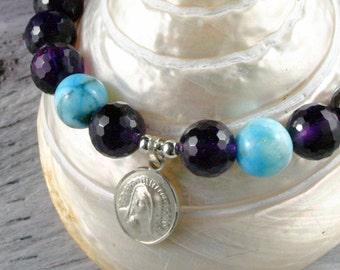 Mother Mary Charm Bracelet, Amethyst Bracelet,  Hemimorphite, Madonna Sterling Silver Charm Bracelet, Gemstone Wrist Mala Yoga Bracelet
