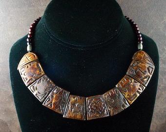 Yoga Necklace, Buddhist Necklace, Buddhist Symbols, Feng Shui Pendant Necklace, Tribal Ethnic Jewelry, Tibet, Nepal, Carnelian