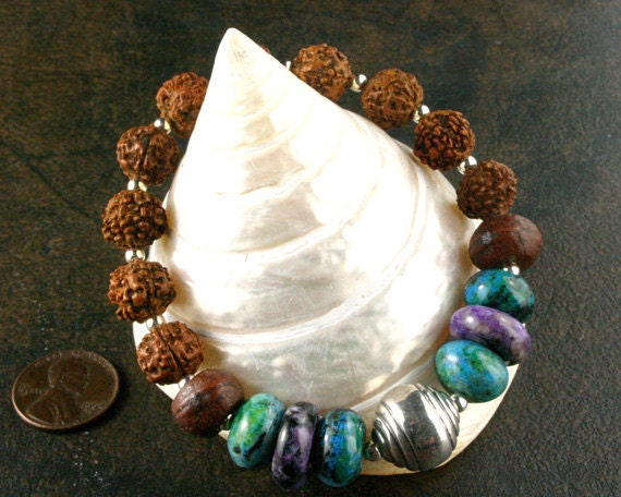 Yoga Bracelet - Rudraksha - Yoga Meditation - Mala Prayer Beads - Bead Stretch Bracelet - Yoga Jewelry - Om Jewelry - Charoite - Chrysocolla