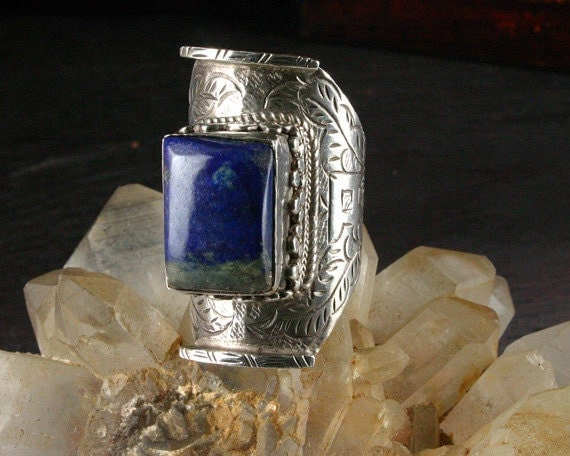 Moroccan Jewelry - Lapis Ring - Ancient Jewelry - African Jewelry - Ethnic Jewelry - Bedouin - Tribal - Silver Ring - Gems and Jewelry