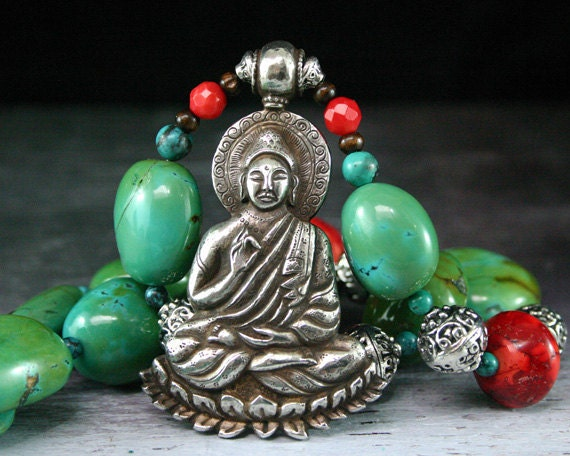 Turquoise Necklace, Silver Buddha Pendant Necklace, Coral and Turquoise, Buddhist, Ethnic Jewelry,  Statement Necklace, Chunky Bead Necklace