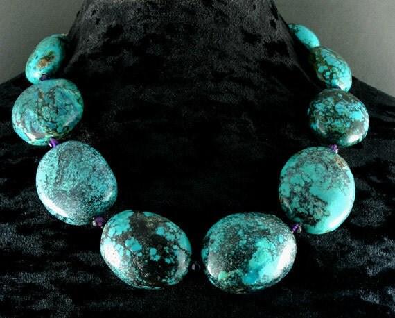 Turquoise Necklace - Chunky Turquoise Necklace - Statement Necklace - Real Turquoise Beaded Necklace - Turquoise Stone - Gemstones Healing