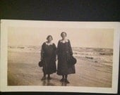 Old picture of women at the beach