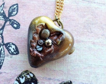 Steampunk Open Heart Pendant Necklace - Antiqued Gold-Bronze-Silver