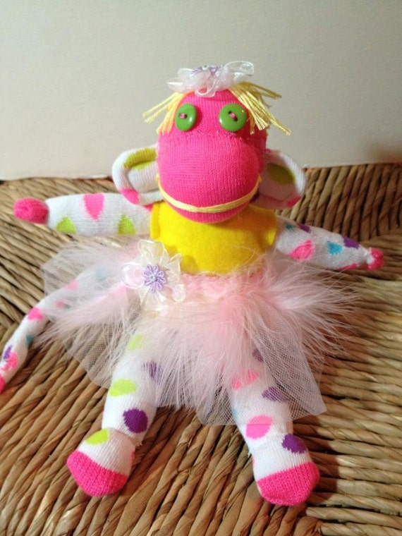 "Ballerina - Handmade Sock Monkey - 9"" Tall"