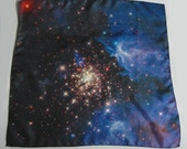 "Galaxy Nebula Print Silk Cosmic Square Scarf ""Celestial Fireworks"""