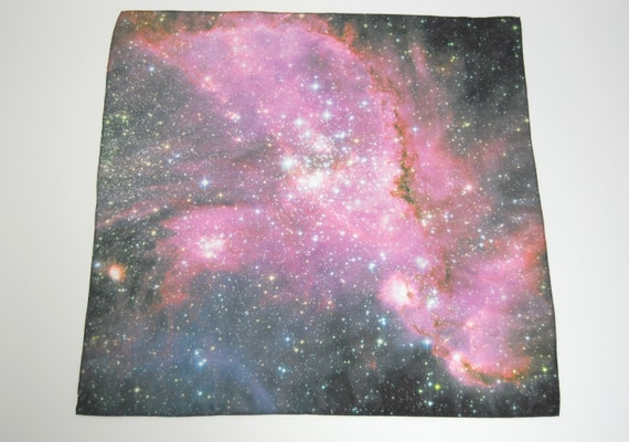Nebula Galaxy Print Silk Scarf - Young Stars