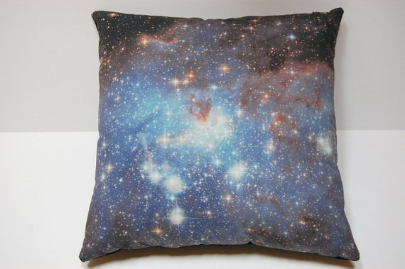 "Galaxy Nebula Print Throw Pillow Cover ""Blue Haze"""
