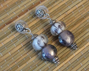 Lavender Lampwork Drop Earrings