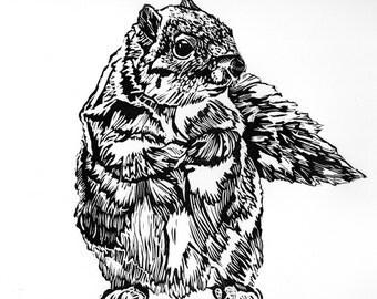 Squirrel Print Linocut