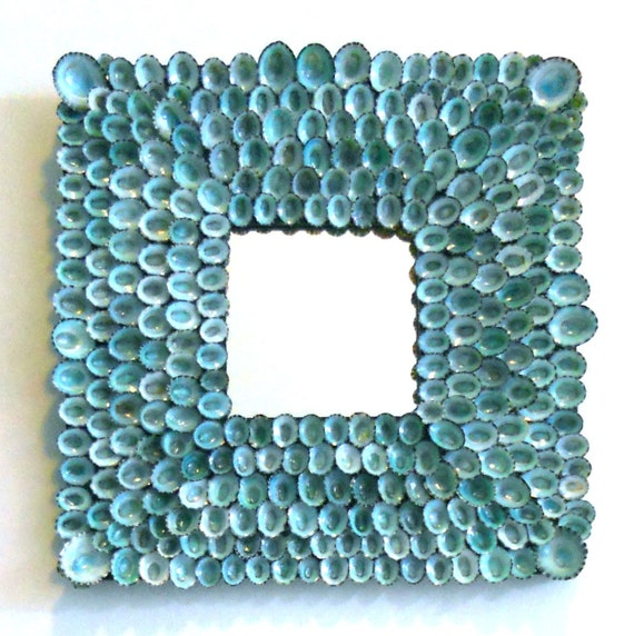 Spectacular azure blue seashell mirror 10 X 10 inches - MYRTOS
