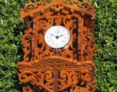 Bavarian Style Wall Clock Constructed of Solid Gonca Alves