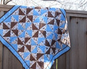 Baby Boy Quilt with Puppies and Pinwheels-Sale