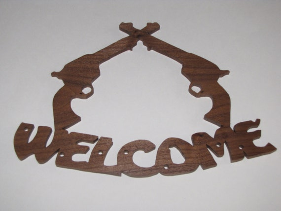 Western Welcome Sign made of Solid Walnut
