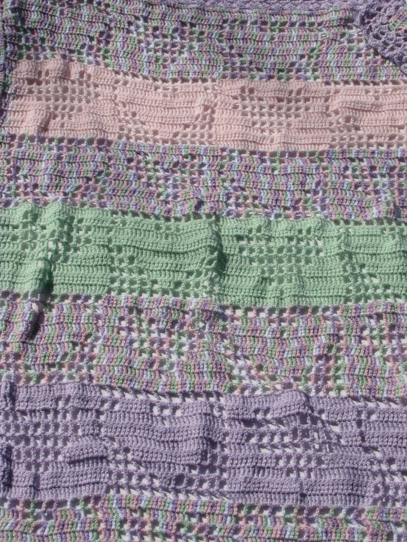 Pastel Varigated Hand Crocheted Baby Blanket with Hearts