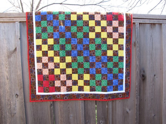 Baby Quilt Brown and Rainbow Nine Patch-Sale