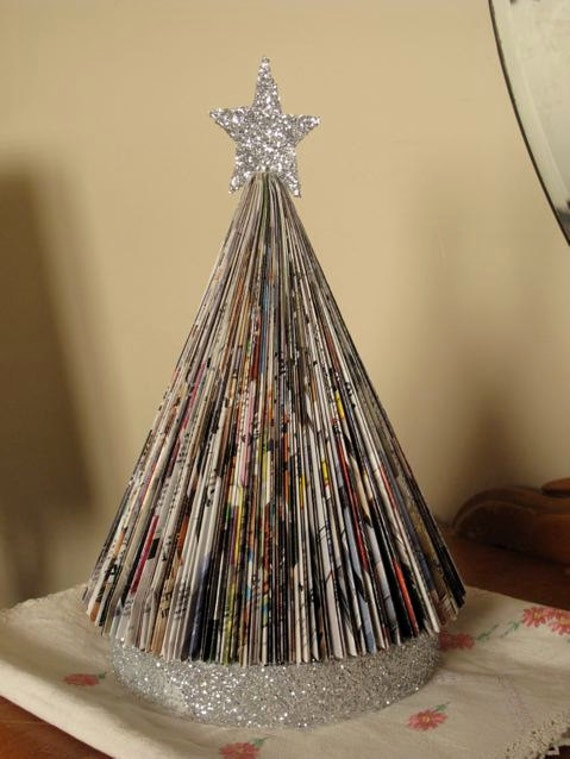 Items similar to vintage style upcycled folded paper book for Christmas tree made from old books