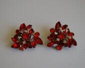 Hot Orange Red Rhinestone Flash Earrings