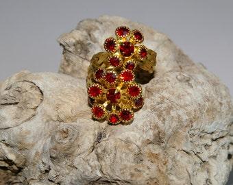 Braided Wire, Red Rhinestone Wrap Ring