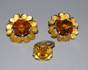 Topaz Judy Lee Earring and Ring Set - 1960's - Large