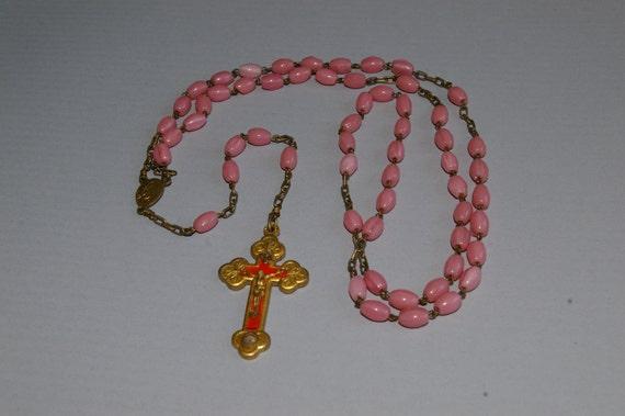 1940's Italian Pink Beaded Rosary - Terra Della Catacombe