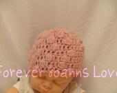 pink baby hat 3-6 months