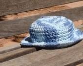Infant boy, 3-6 month, blue sun hat, flat brim. Multi-colored blue. 100% cotton. Handmade, crocheted.