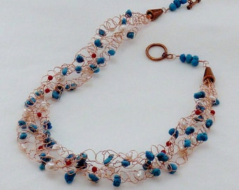 Wire Crochet Necklace - Turqoise howlite, freshwater pearl, dyed bamboo coral, copper