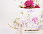 Shabby Chic Photograph - Tea Time - 5x5 print, china teacups, roses, purple, silver, creamy white, efpteam, fpoe - ErinBphoto